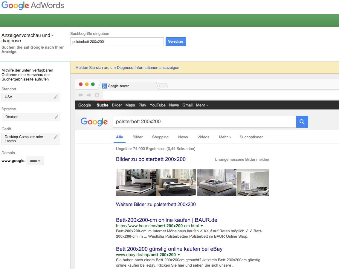 Google Suche ohne Lokalisierung